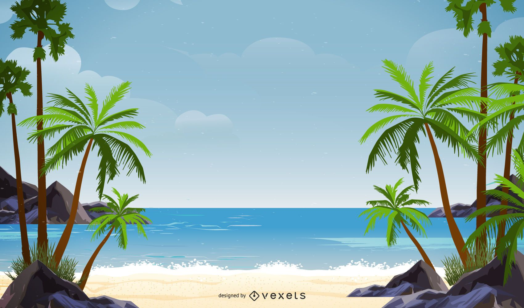 Palm Tree Beach Background Design