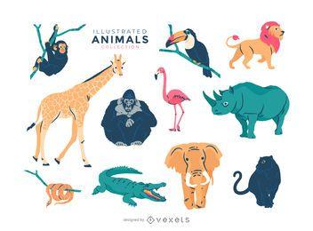 Gráfico de vetor de animais dos desenhos animados