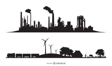 City industrial silhouettes