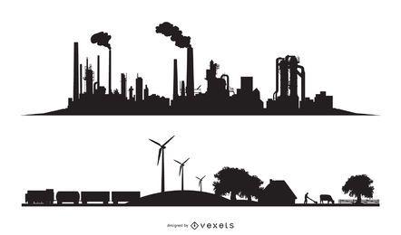 Silhuetas de cidade industrial e ecológica