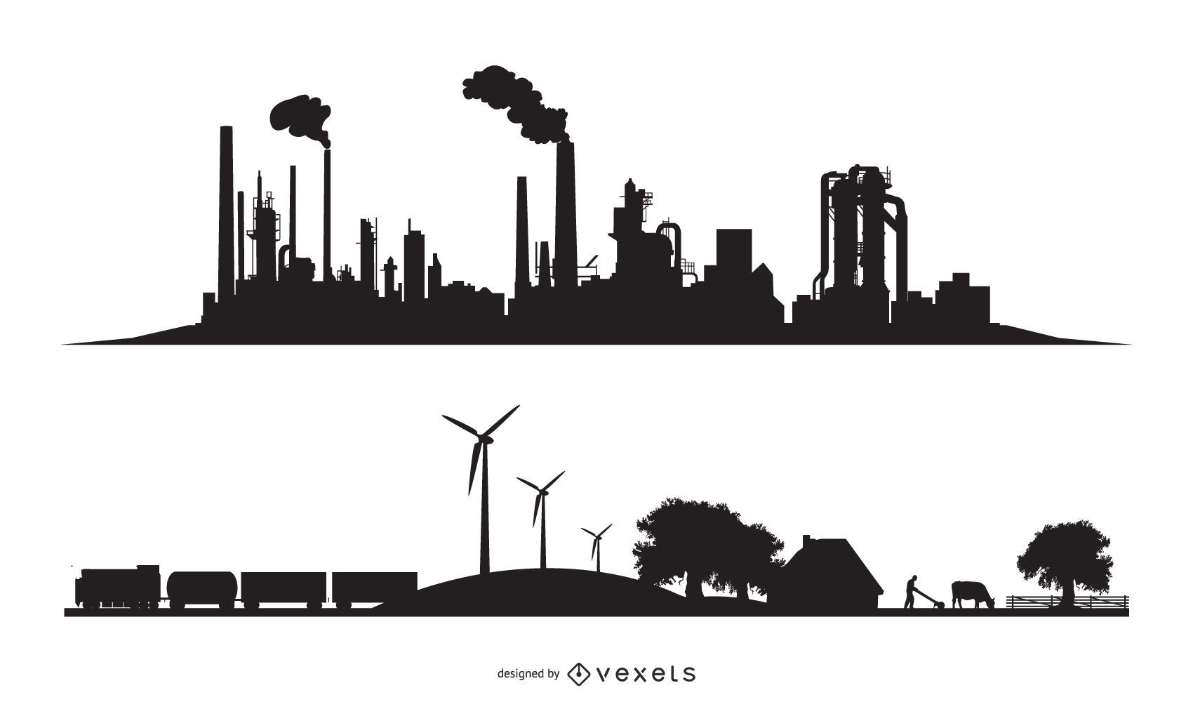City industrial and eco silhouettes