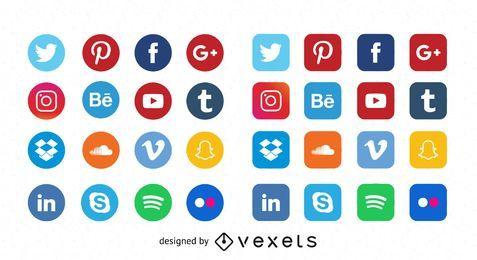 Ícones de mídia Social plana de qualidade livre