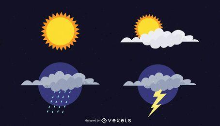 Ícone de vetor de tempo livre ensolarado e nublado