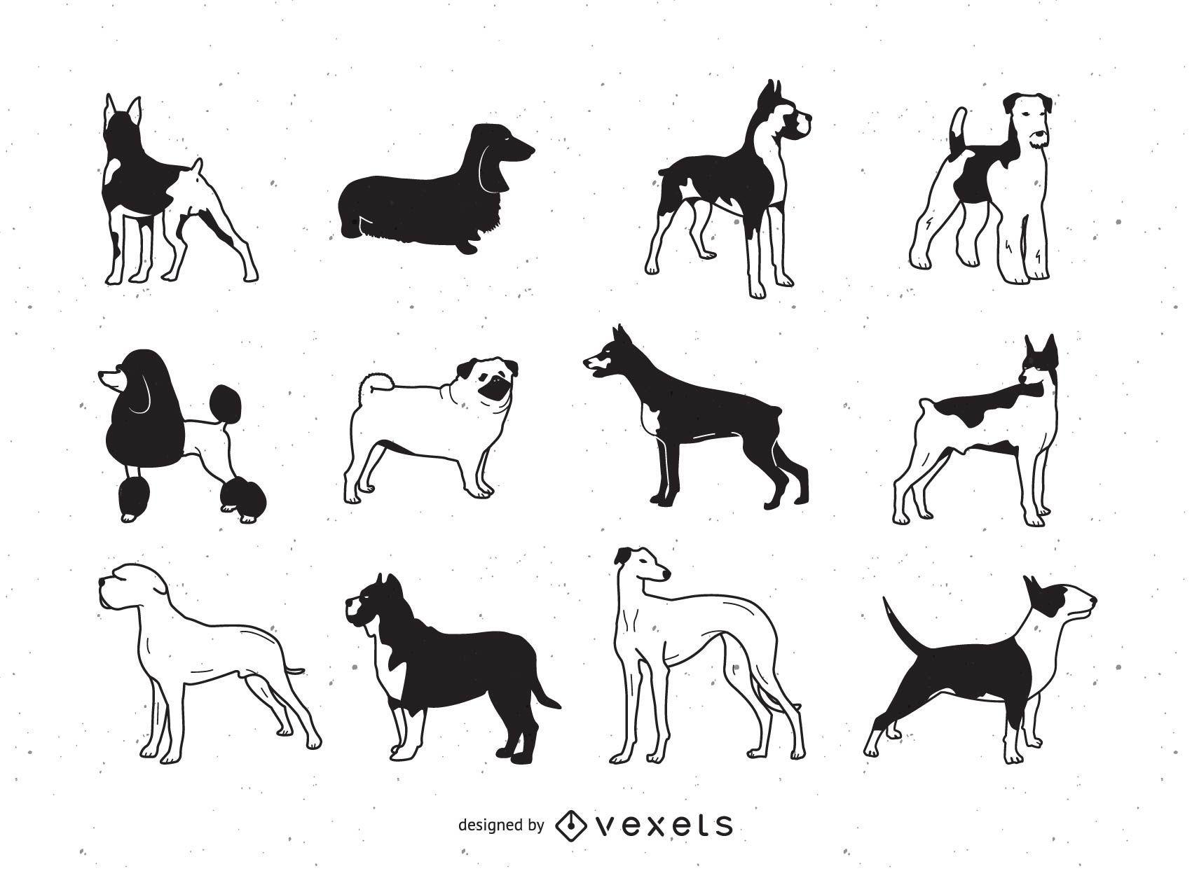 Schlaganfall-Vektor-Hunde