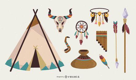 Pacote de vetores indiano nativo americano grátis