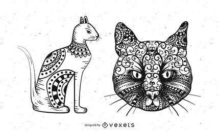 Gatos com ornamentos tribais