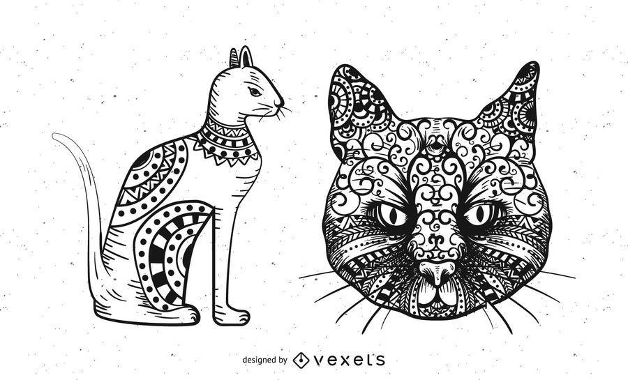 Tribal Ornaments Cats