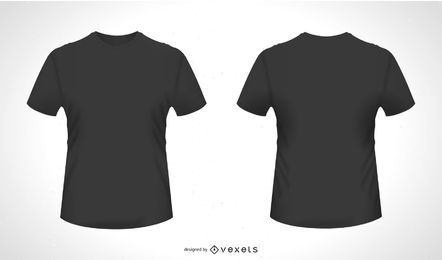 Frente Atrás Camiseta Vector