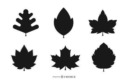 Autumn leaves silhouette set in black