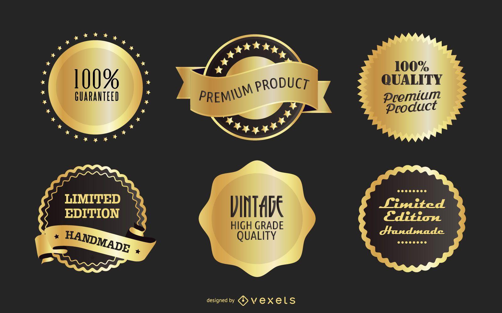 Insignias de oro del vector libre