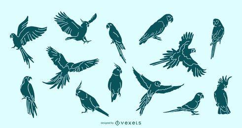 Parrot Silhouette Set