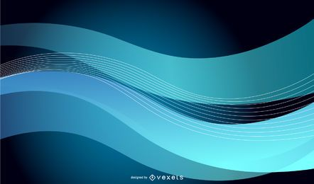 Ondas azuis abstratas no gráfico de vetor de fundo preto