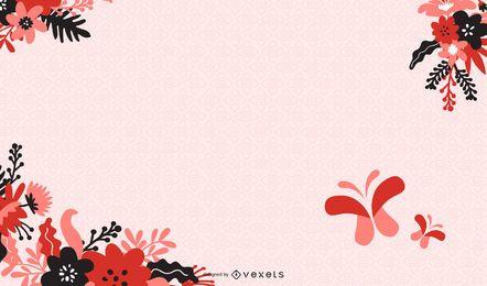 Floral abstrato com ilustração em vetor fundo borboleta