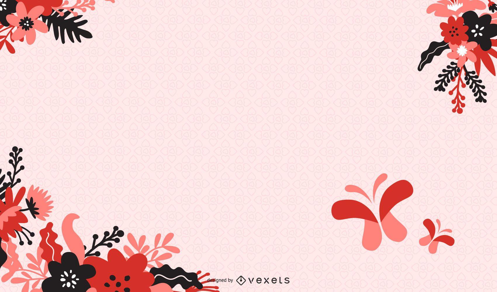 Floral abstracto con ilustración de Vector de fondo de mariposa