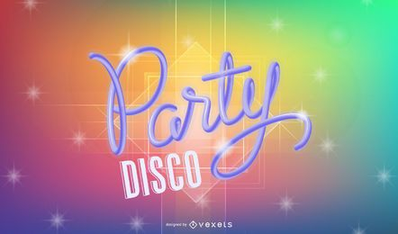 Cartel abstracto de la música disco del arco iris