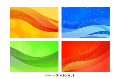 Conjunto de vectores de fondo colorido abstracto