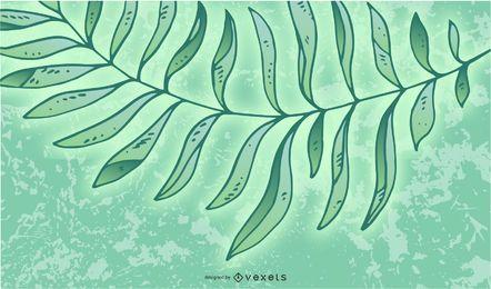 Folhas com fundo de explosão de luz verde