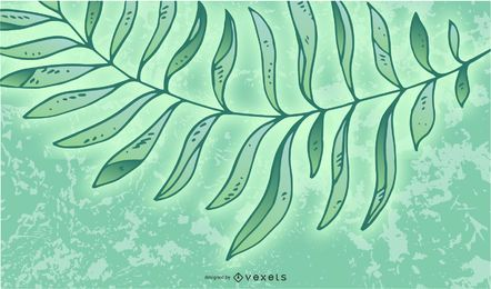 Leaves with Green Light Burst Background