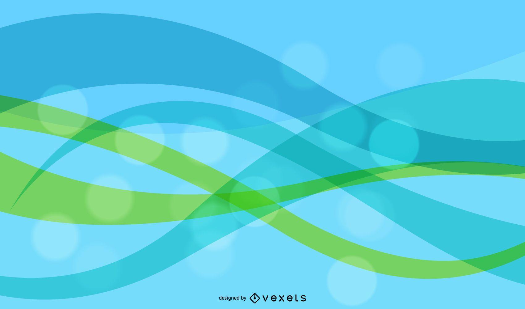Resumen colorido fondo de ondas y rondas gráfico vectorial