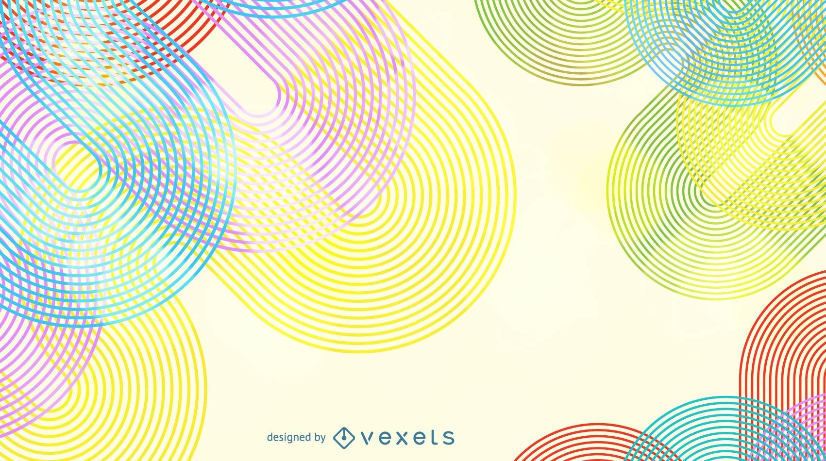 Fondo abstracto del vector de la línea de la onda del arco iris