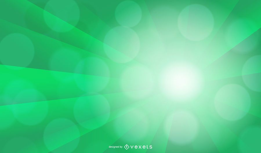Green Ray Bokeh Light Background Design