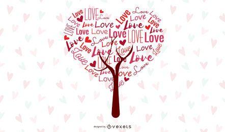 Gráfico de vetor abstrato árvore de amor
