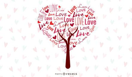 Gráfico de vetor abstrato da árvore do amor