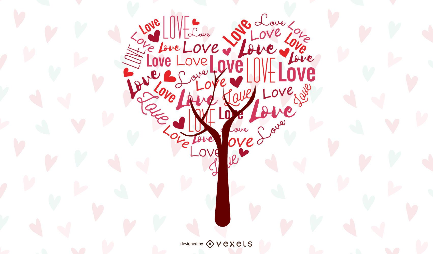 Abstract Love Tree Vector Graphic