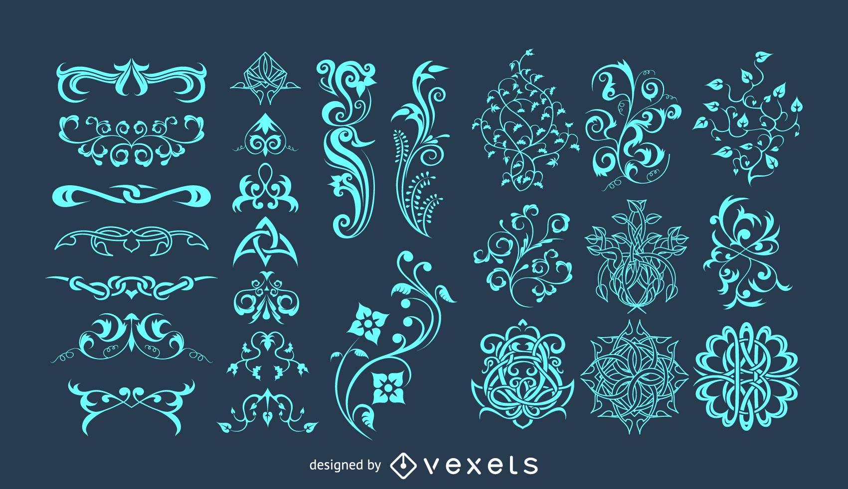 Colección de elementos florales vectoriales