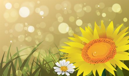 Frühlings-oder Sommer-abstrakter Hintergrund mit Bokeh Lichtern