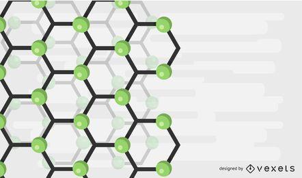 Ilustração em vetor fundo abstrato verde molécula