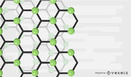 Ilustración de vector de fondo abstracto molécula verde