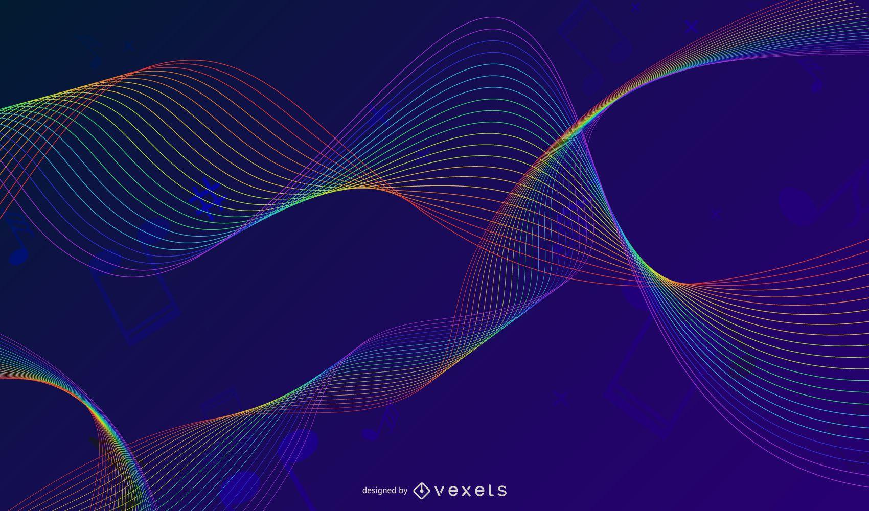 Ilustración de vector de fondo de música colorida abstracta