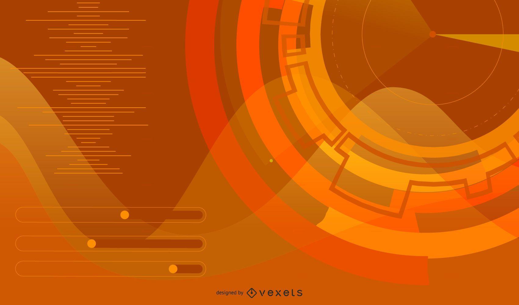 Futuristic background in orange