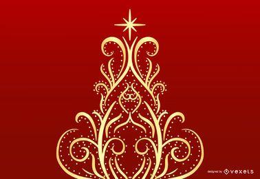 Gráfico de vetor de árvore de Natal Floral redemoinho abstrato