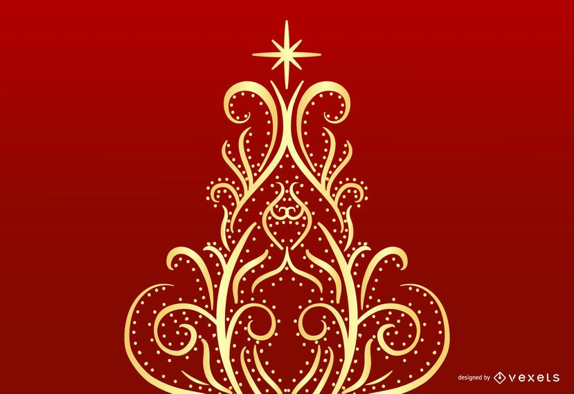 Floral Swirl Christmas Tree Vector Graphic
