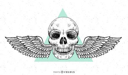 Cráneo de alas de grunge