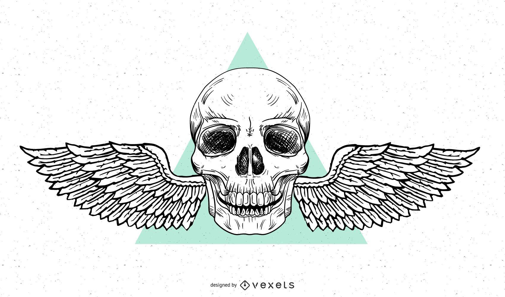 Grunge Winged Skull