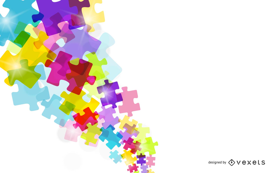 Colorful puzzle pieces over white backdrop