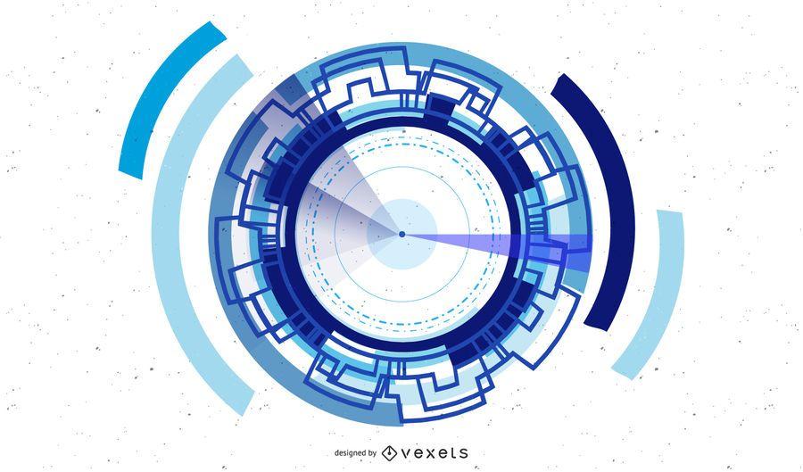 Resumen tecnología azul fondo gráfico vectorial