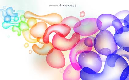 Fondo de vector de gotas y burbujas abstractas coloridas