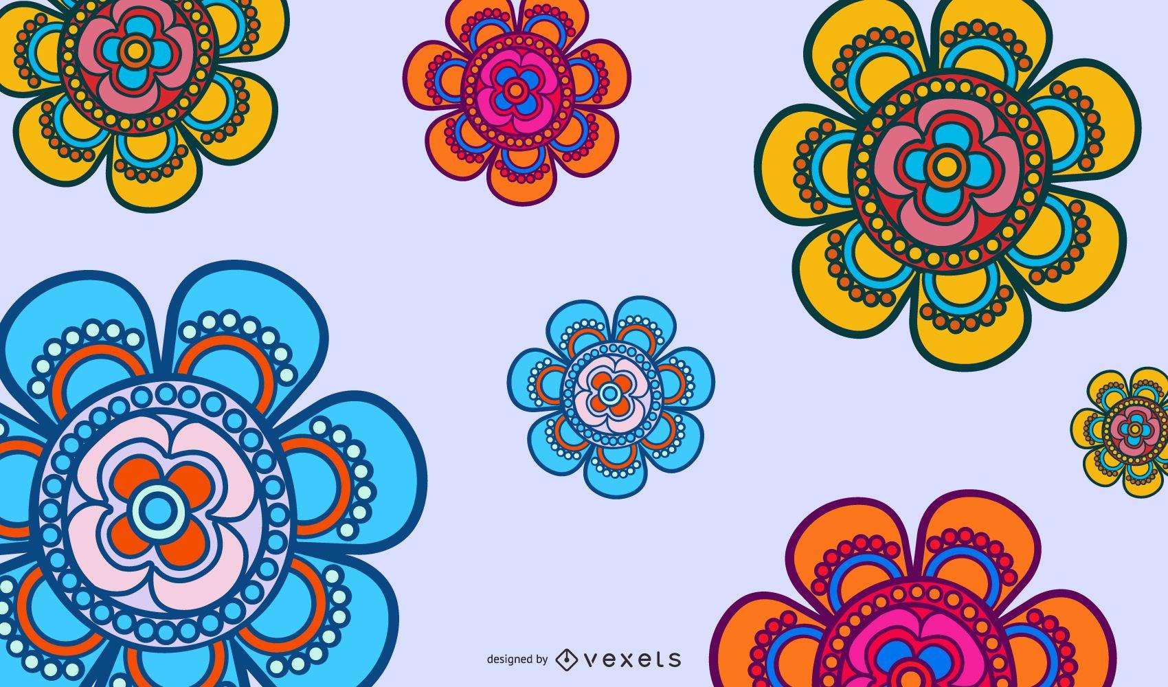Vetor de padrão floral artístico