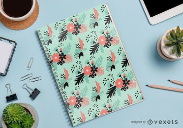 vector de patrón de cuaderno floral abstracto
