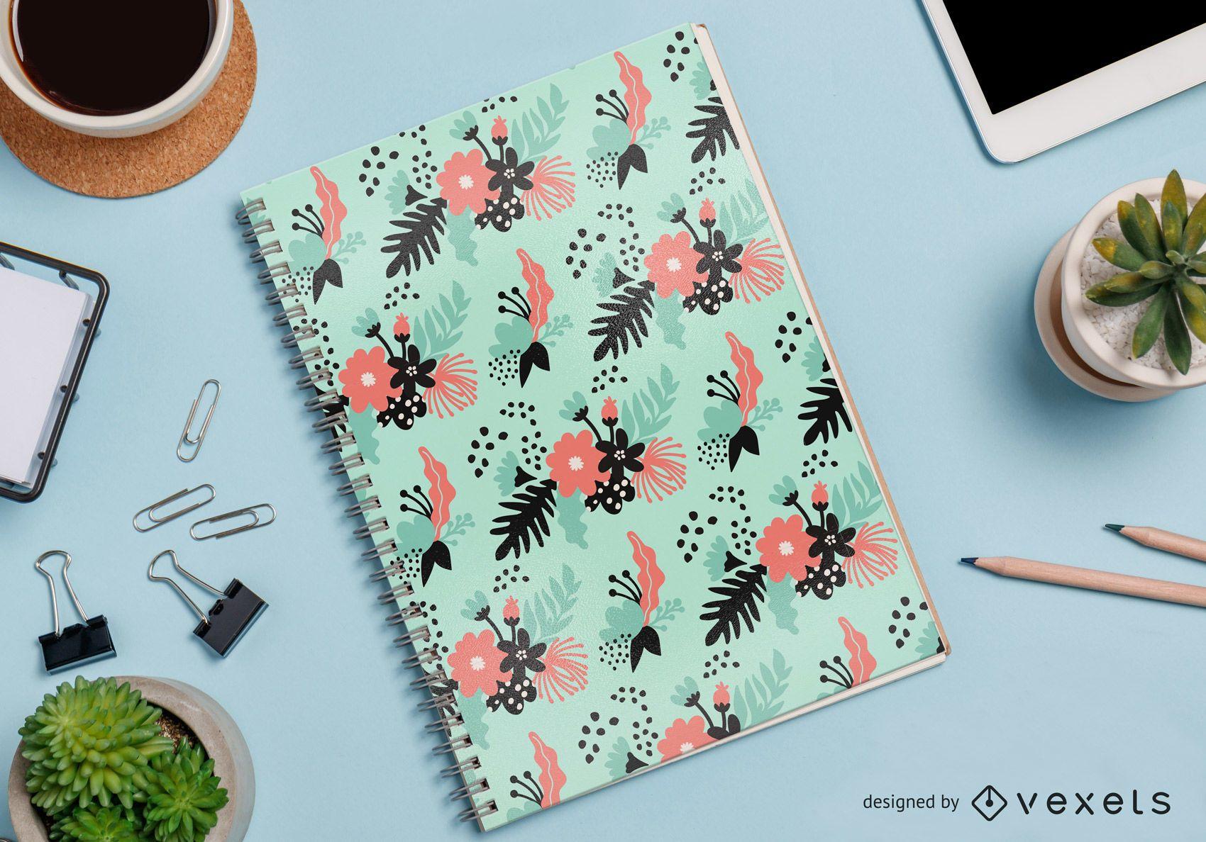 vetor de padrão de caderno floral abstrato