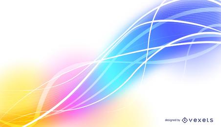 Fundo abstrato do vetor com ondas, linhas e cores