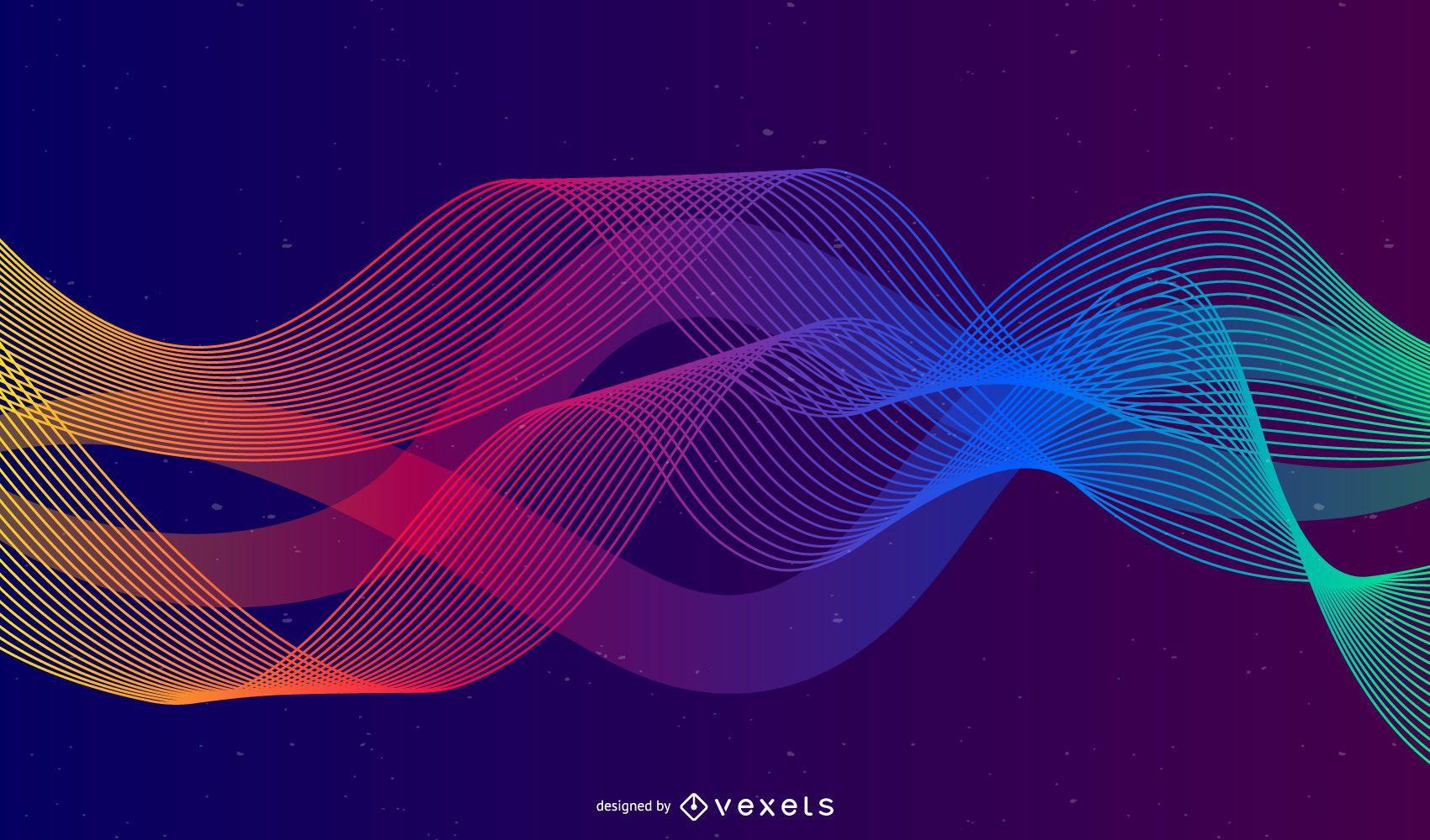 Fondo de onda de color arco iris abstracto gráfico vectorial
