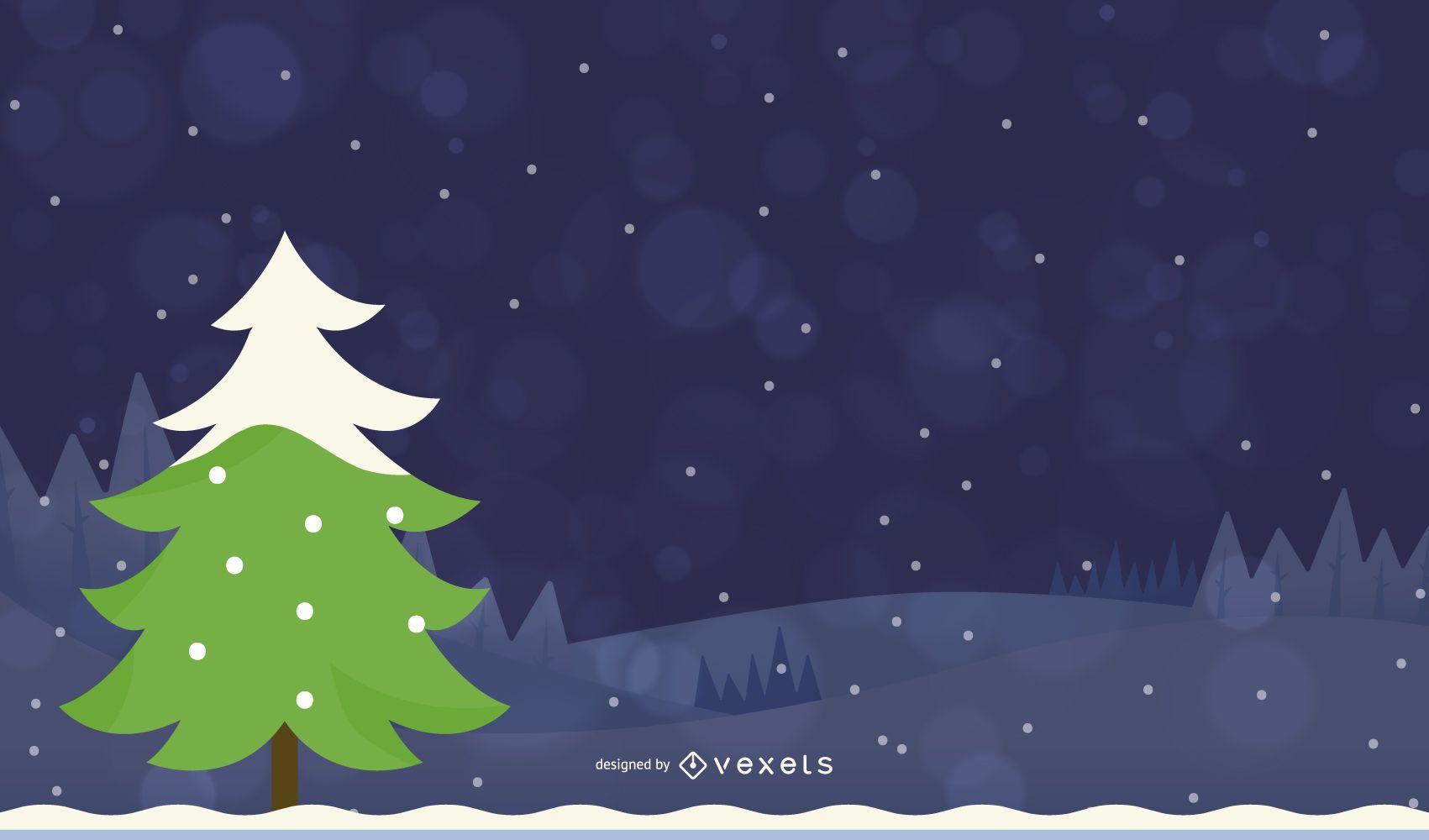 Flat Design Christmas Tree Landscape