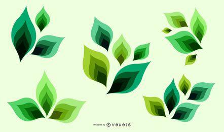 Ilustración de Vector de hojas verdes abstractas