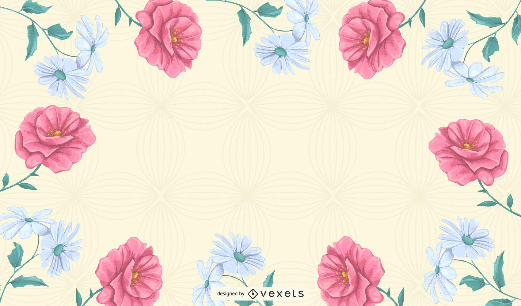 vetor de fundo padrão floral abstrato