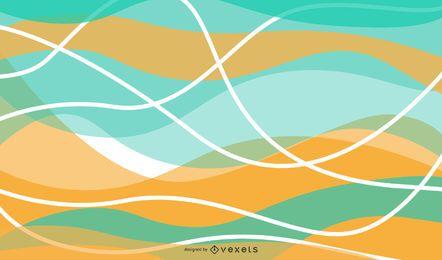 Fondo colorido abstracto del vector de las ondas de la curva